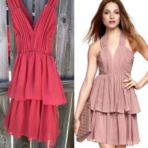 H&M Tiered Chiffon Dress Crisscross Straps Coral 4